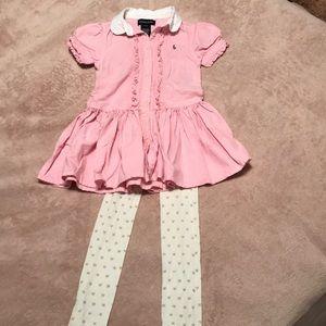 Pink Ralph Lauren dress with stockings